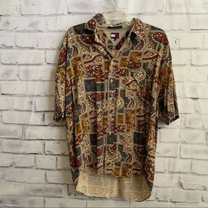 Tommy Hilfiger button down, patterned shirt